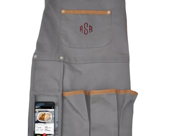 Techie Apron with Faux Leather Detailing & Cell Phone Pocket | Gifts for Her | Gifts for Him | Personalized Orders | Personal Monogram