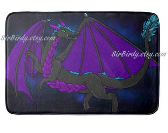 Galaxy Dragon plush bath rug memory foam bath mat bedroom dragon rug choose size made to order dragons fantasty decor home decor custom rug