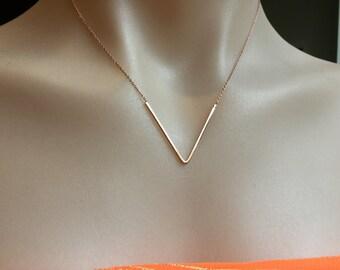 Chevron/V shape/Rose Gold/Necklace/Chevron necklace/chain/Rose Gold plated chain/V shaped necklace