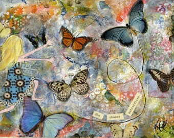 She Chases Butterflies, 8x10 print of original mixed-media collage