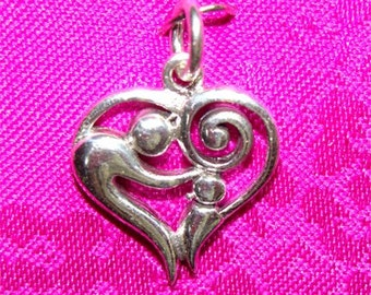 MOTHER and Child CHARM or Pendant in STERLING Silver