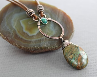 Copper with leather necklace with earthy turquoise with hints of green, teal and brown colors opal with turquoise - Leather necklace - NK022