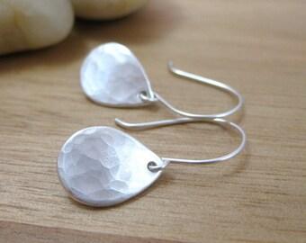 Recycled Silver Dangle Earrings Eco Friendly Fine Silver Hammered Teardrop Earrings Everyday Earrings Minimalist Earrings - Morning Dew