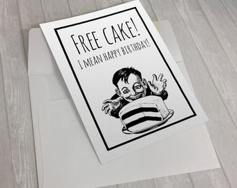 Free Cake, fun birthday card, Birthday card, funny birthday card, friend birthday, cake card, food birthday card, baker , cake birthday card