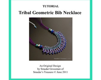 Beading Tutorial Pattern, Tribal Geometric Bib Necklace. Instant Download PDF File. Beadweaving with Cube, Tila, Bugles Seed Beads. Beadwork