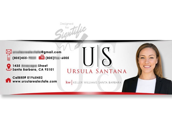 Professional e-mail signature in your colors unique name logo with a photo, professional business signature, realtor email design