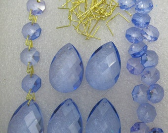 """50  piece Crystal Prisms Sapphire Blue & Gold Windchimes Add-on 1.5"""" Teardrop and 2 hole  14mm Octagon Jewel Chandelier Part Craft Supply"""