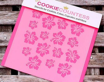 Hibiscus Cookie Stencil, Hibiscus Sugar Cookie Stencil, Hibiscus Fondant Stencil, Cookie Countess Cookie Stencil, Hibiscus Stencil