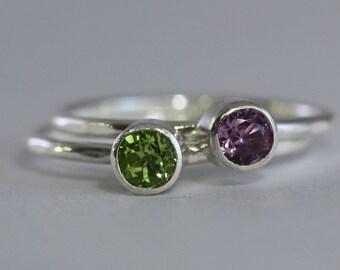 1 Gemstone Stacking Rings, 4mm birthstone,  Family & Mother's, Argentium Sterling Silver Skinny Rings, Custom made