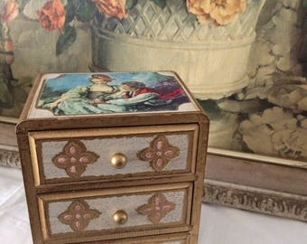 Stunning Rococo Florentine Jewelry Box Made in Japan/Mid Century Glamour