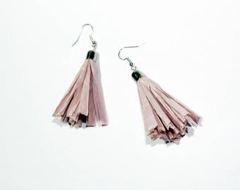 Pink Raffia Tassel Earrings