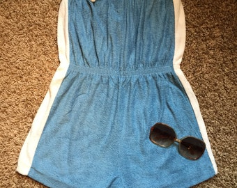 "70s/80s ""Baby Blue"" Terry Cloth Romper"
