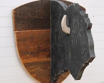 Wooden Buffalo Head Kids Room Decor Tribal Nursery Decor Buffalo Decor Rustic Background Animal Head