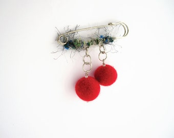 Metal felt and yarn safety pin brooch, women gift, red felt beads and blue gray yarn, fiber jewelry, textile brooch, coworker gift, under 20