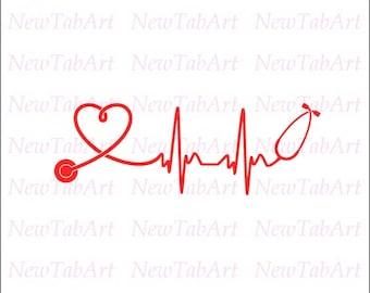 stethoscope svg rn svg nurse svg files Lpn DIY Vinyl Decal Heart Shaped Stethoscope svg files for cricut silhouette Vector files