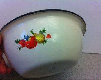 Enamel Mixing Bowl - Set of Two Enamel Bowls - made in USSR Russia