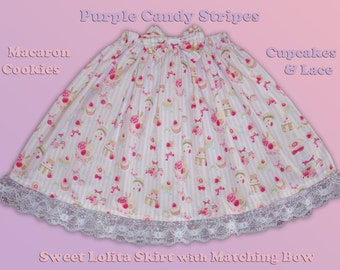 Purple Candy Striped Macaron Cookies, Cupcakes & Lace Sweet Lolita Skirt (Bow not included) - ANY Size
