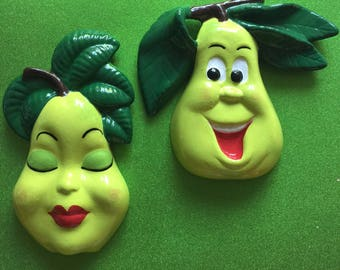 Pair of Pears ~ Retro Anthropomorphic Fruit Wall Hangings