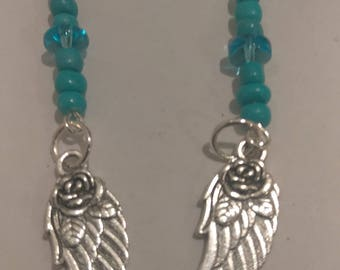 Rose Angel Wing Earrings WithTurquiose