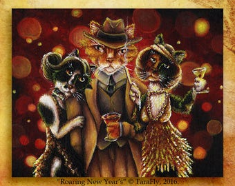 Flapper Cats Great Gatsby Party Roaring Twenties 8x10 Fine Art Print