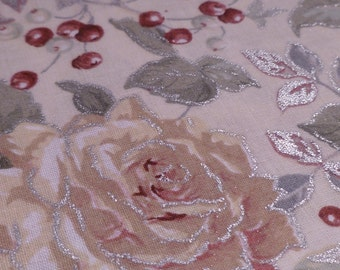 Winter Roses and Fruit - Destash Fabric - Concord Fabric Inc - The Kesslers
