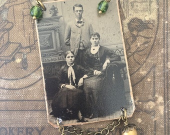 Vintage Tintype Family Photo Pendant Necklace