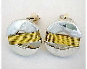 Modernist Silver and gold Tone Earrings, Retro Earrings