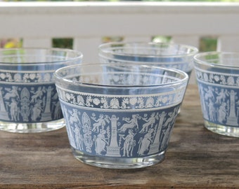 Mid Century Jennette Corinthian Blue Custard Glass Bowls Set of 4 Dessert Bowls Ca. 1950s