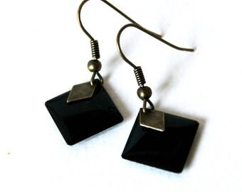 Sequin black enamel square earrings