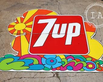 Huge Original 7up 8' Painted Advertising Sign