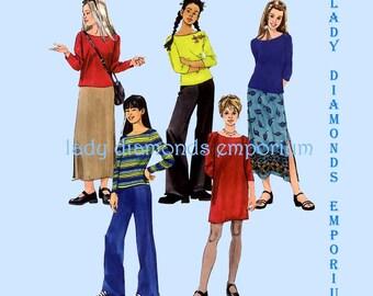 McCalls 2502 Girls Dress Tunic Top Pull-On Skirt Flared Leg Pants size 12 14 16 Bust 30 32 34 Teens Easy Sewing Wardrobe Pattern Uncut FF