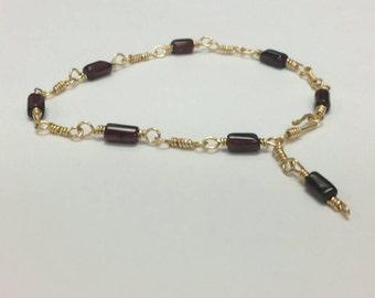 Roman Inspired Garnet & Brass Bracelet