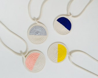 Half circle necklace. Big size. Handmade necklace made with rope.