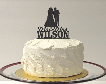 MADE In USA, Silhouette Wedding Cake Topper with Personalized Family Name, Mr and Mrs Wedding Cake Topper, with Surname Wedding Topper