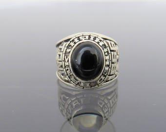 Vintage Sterling Silver Black Onyx 1966 High School Men's Ring Size 10.5