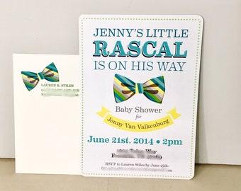 Little Rascal Vintage Bowtie Baby Boy Shower Invitation //DIY // Printable // Template