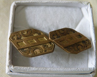 Edwardian Gold Filled Chased Scroll Cuff Links