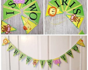 Jungle Bunting, Safari Bunting, Garland, Flags, Party, Birthday, Decoration, Wall, Bedroom, Personalized, Personalised, Name Bunting.