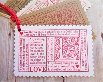 Love Gift Tags Valentine's Day Wedding Postage Stamp Style Love Definition