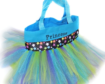 Princess Bag, Tutu Bag, Dance Bag, Multi Colored Star Ribbon,  Personalized Girl Bag, Childs Bag, Bag Favors, Fairy Princess Bag
