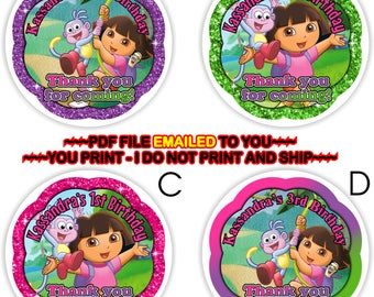 Dora the Explorer, Birthday Thank you, Dora Thank You Tag, Dora Gift Tag, Dora Favor Tag, Dora Birthday Party, Dora Cupcake Topper -BIRTHF18