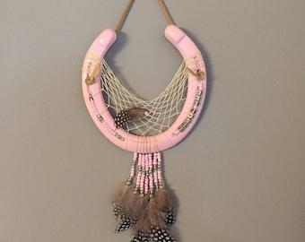 "Pink ""DREAM BIG"" horseshoe dreamcatcher"