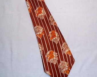 Mens Vintage 1950's Famous Stetson Cravat Four Fold Tie /  Necktie - Rich Brown with Orange and Tan Leaves