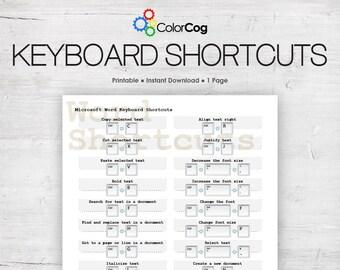 Microsoft Word Keyboard Shortcuts Printable PDF