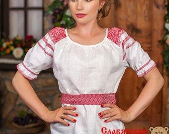 "Cotton Blouse ""Enchantress"", russian blouse, slavic blouse, ethnic blouse, russian cloth, short sleeve blouse, cotton woman shirt"