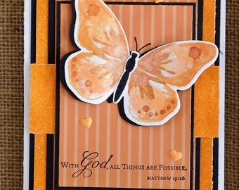 Stampin Up Homemade card with Watercolored wings Butterfly.