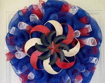 Patriotic Wreath/Front Door Wreath/Welcome Wreath/Americana/Housewarming/Deco Mesh Wreath/Summer Wreath/July Fourth Wreath