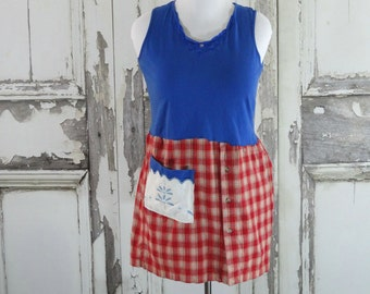 Blue and Red Checked Summer Tank Top Tunic Upcycled Clothing Loose Fit Upcycled Dress