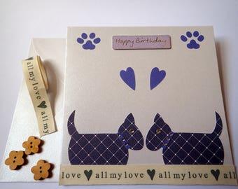 Handmade Dog Birthday Card - Birthday card - Blank Greeting card - Dog Greeting Card - HandmadeDog greeting Card - Dog Birthday Card