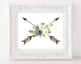 Arrow Print, Flower Print, Floral Printable, Boho Nursery Print, Boho Decor, Blue Floral Print, Arrow Printable, Tribal Nursery Print